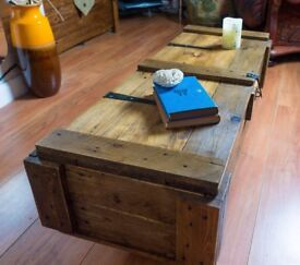 Rustic industrial chest coffee table toy trunk storage box handmade vintage home