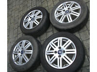 "Set of 4 Ford Focus/Fiesta/Fusion 15"" 8 Spoke 4 Stud Alloy Wheel with tyres"