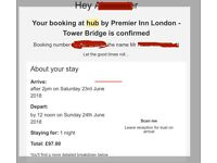 1 Double room, Hub hotel (By Premier Inn) London Bridge, Saturday 23 June