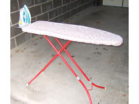 Ironing Board with Pink Floral cover in great condition - Including an ASDA Steam Iron