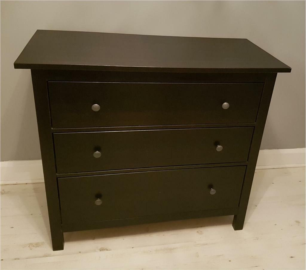 IKEA hemnes chest of 3 drawers in black/brown