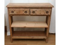 Vintage Natural Wood Entrance Console Small Sideboard Bookcase Storage 2 Shelves 2 Drawers