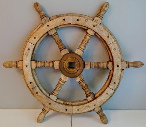 "Antique Wooden Ships Helm Wheel Brass Center Boat Nautical Decor Well Worn 24"""