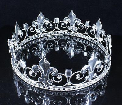 TEEN'S BOY'S KING METAL CROWN AUSTRIAN RHINESTONE THEATER PARTY C806S SILVER (Metal King Crown)
