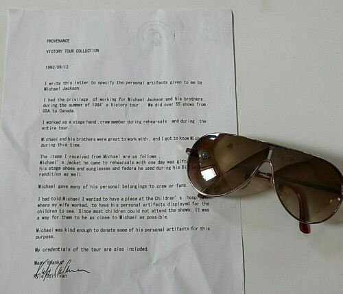 MICHAEL JACKSON OWN WORN OWNED GLASSES 1984 VICTORY TOUR BILLIE JEAN SIGNED LOA