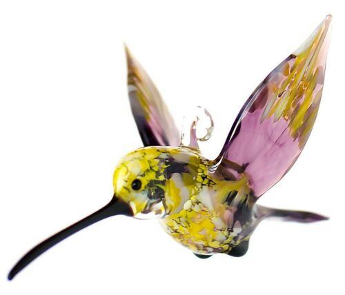 "Hummingbird Blown Glass Ornament, ""Murano"" Art, Home Decor Purple Bird Figurine"