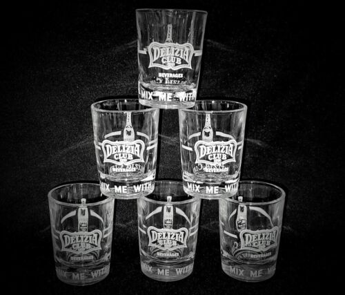6 Double Shot Glasses Delizia Club Beverages Soda Syracuse NY 1950