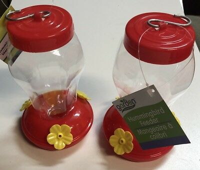 "Lot Of 2 Red Plastic Hummingbird Feeder Nectar Flower 16 Oz ~ Sz- 4.25""x4.25""x7"""