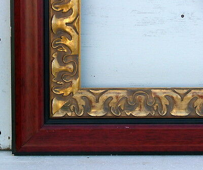 "FRAME FLAT PANEL 6"" WIDE RAIL TWO TONE RED APPLIED GOLD ORNAMENT FITS 36"" x 24"""