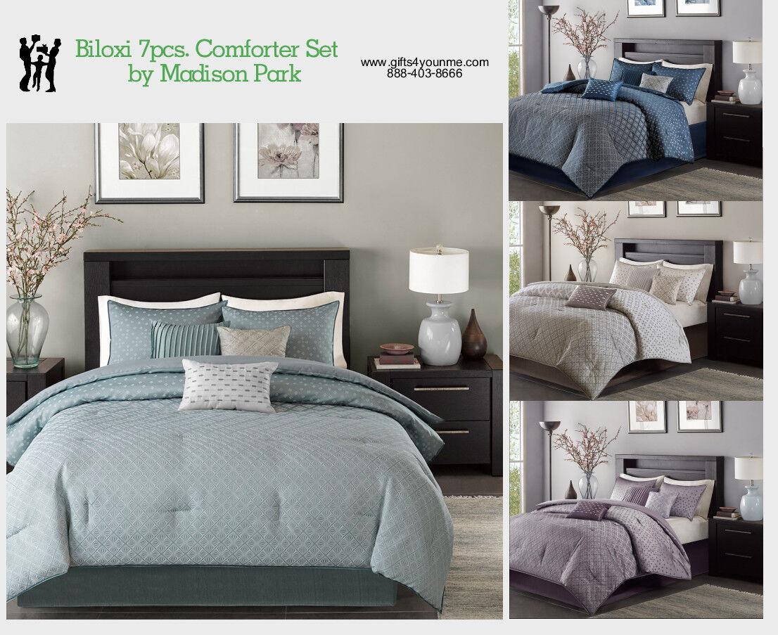 Madison Park Biloxi 7 Piece Comforter Set in Blue, Navy, Pur