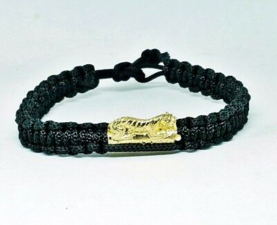 "Tiger Thra Krud Talisman Thai Amulet Powerful Magic Protection Rope Bracelet 9"""