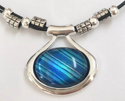 Blue Striped Glass Cabochon Silver Tone Pendant Black Cord Necklace