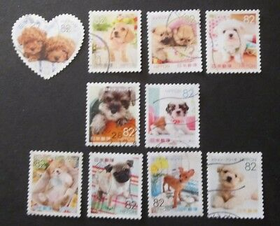 JAPAN USED 2015 PUPPIES 82 yen 10 VALUE VF COMPLETE SET SC# 3949 a - j