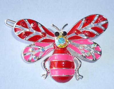 New Red Pink Bumble Bee Hair Clip Rhinestone Barrette Butterfly Prom Dance Party