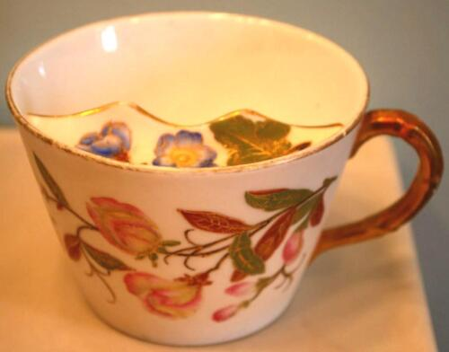 Antique ROYAL WORCESTER Porcelain Moustache Cup BLUSH IVORY Floral Gilt 1884