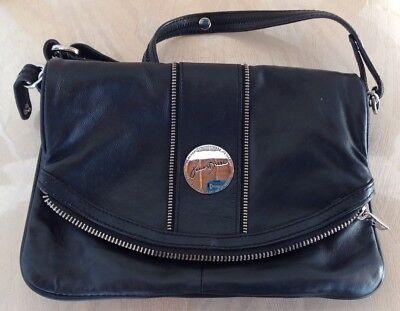- Junior Drake Collection Black Leather Foldover  Crossbody/Shoulder Bag/Handbag