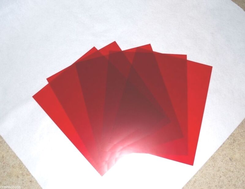 "RUBYLITH - LOT OF 5 SHEETS - SIZE 11"" x 14 RED"