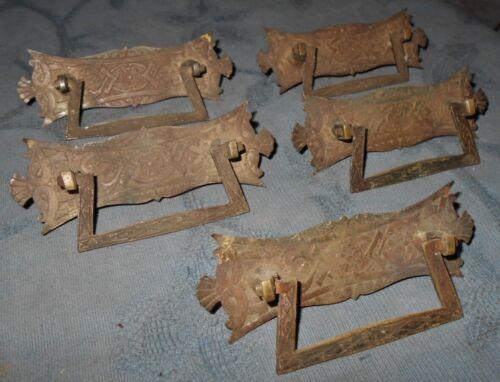 Great Set  5  Antique  Eastlake Design  Brass  Drawer Pulls