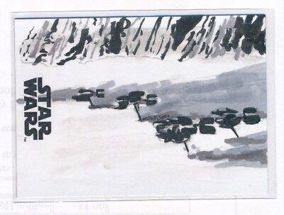 Topps Star Wars The Last Jedi Original Sketch of Ski Speeders by Kallan Archer