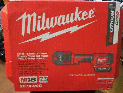 Milwaukee 2674-22c M18 Short Throw Press Tool Kit With Pex Crimp Jaws