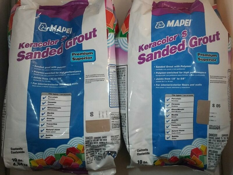 SAVE! LOT OF 2! MAPEI KERACOLOR S #05 CHAMOIS 10LBS SANDED GROUT FREE SHIPPING!