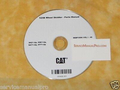 Sebp3096 New Cat Caterpillar 525b Wheel Skidder Parts Manual Book Cd.