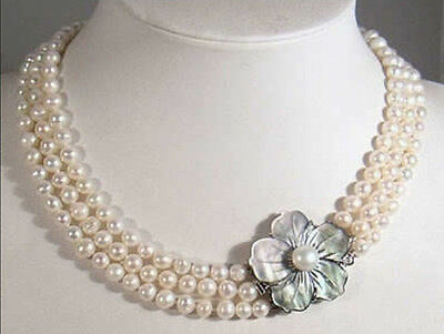 3 Rows Natural 7-8mm White Akoya Cultured Pearl Necklace 17-19'' Shell Clasp AAA