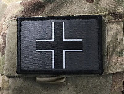 WWII Iron Cross Morale Patch Tactical ARMY Hook Military USA Badge Flag