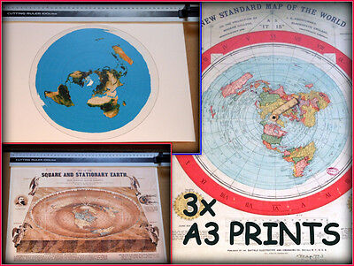 3X - FLAT EARTH PRINTS, GLEASON MAP - A3 size - SQUARE & STATIONARY - USGS MAP -