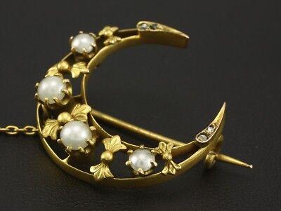 Antike Brosche mit Diamanten und Perlen   585/- Gelbgold