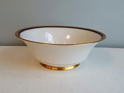 FOOTED ROUND VEGETABLE BOWL Marlborough Blue SYRACUSE GOLD ENCRUSTED COBALT Footed Round Vegetable Bowl