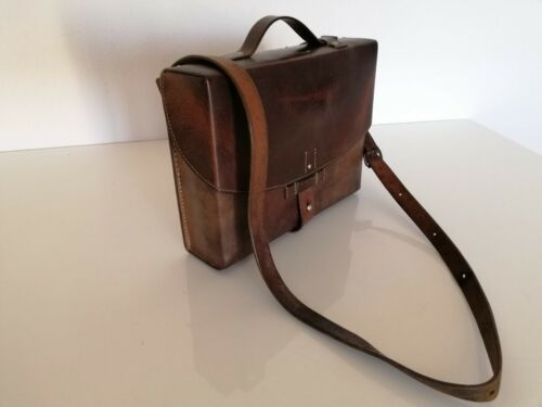 Swiss Army Military Officer Leather Bag Vintage Maps Medic Paramedic