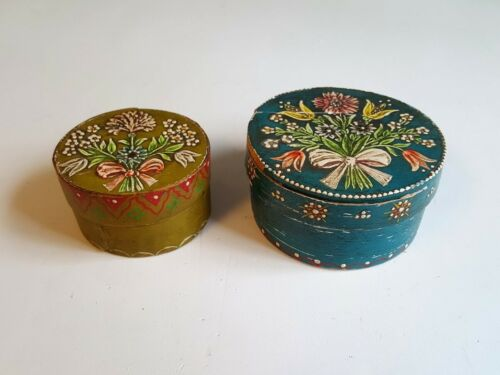 2 Wooden Band Boxes Volkskunst Wallach German Hand Painted Folk Art