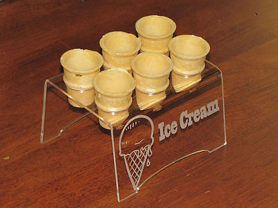 Engraved Acrylic ((MINI CONE ONLY)) 6 Ice Cream Cone Holder Tray Display Stand