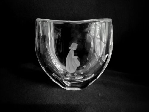 Signed Orrefors Sweden Crystal Vase Numbered Etched Little Girl, Flowers 1940