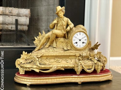 French Gilt-Bronze Figural Hunter Mantel Clock - OWNED & USED BY JOHNNY CASH