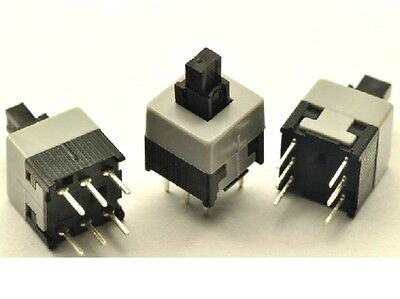 20 pcs Push Button Self Latching Maintained Switch 8.5x8.5mm White Button 6-Pin