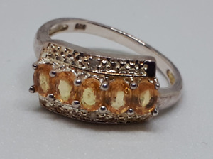 Sterling Silver Ring with Citrine and Diamonds - Size 7