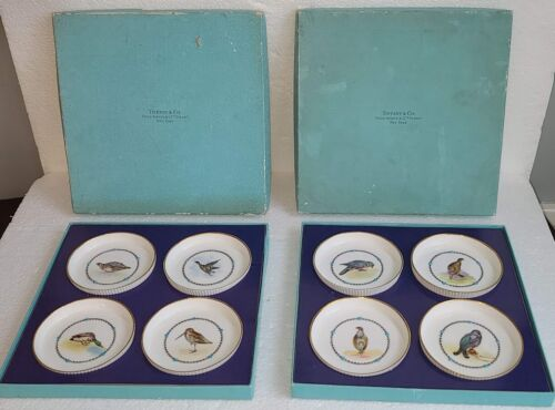 LOVELY TIFFANY & CO. ROYAL WORCESTER BIRD COASTERS, ENAMEL BEADED,  HAND PAINTED