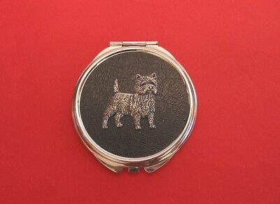 Cairn Terrier Pewter Motif Round Faux Leather Top Compact Mirror Mother Gift