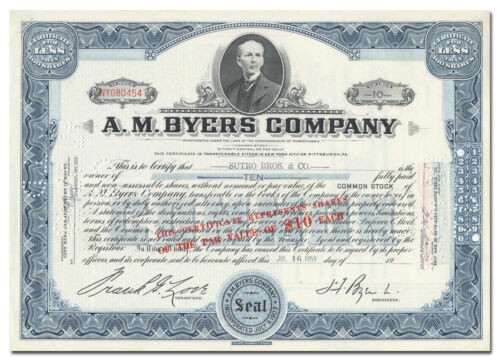 A. M. Byers Company Stock Certificate