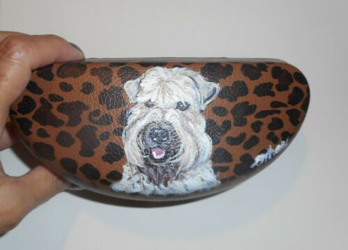 Soft Coated Wheaten Terrier Dog Hand Painted Eyeglass Sunglass Case Vegan Box
