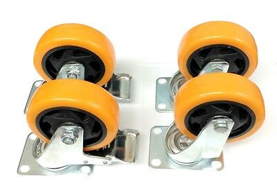 4 Industrial Heavy Duty 4 Caster Plate Polyurethane Swivel And Brake Wheels