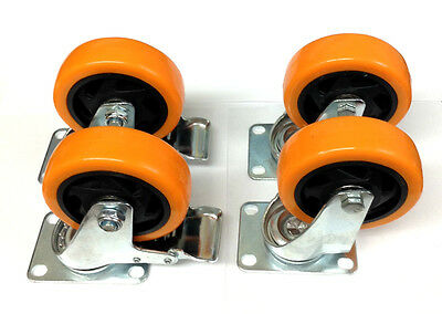 Lot Of 4 4 Caster All Swivel Plate Orange Polyurethane With Two Brake Wheels