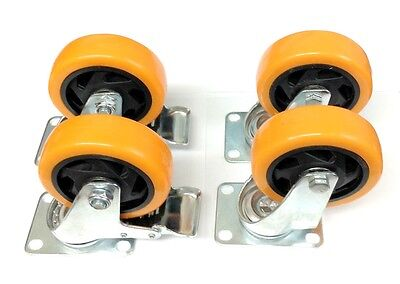 Lot Of 4 Caster Swivel Plate Orange Polyurethane With Two Brake Wheels 4 Inch