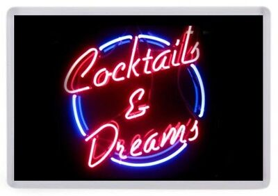 Cocktails & Dreams Fridge Magnet. NEW. Neon Style Sign