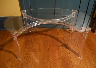 Vintage Mid Century Modern Coffee Table w Lucite Legs Glass Top