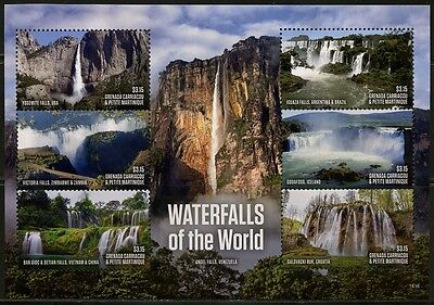 GRENADA GRENADINES  2017 WATERFALLS OF THE WORLD SHEET OF SIX  MINT  NH