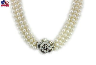 7-8mm white Freshwater Pearl 3 Row Necklace with Mother of Pearl Flower (Row White Freshwater Pearls)