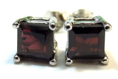 Genuine Garnet Stud Earrings 2.67CT Platinum 0.925 Sterling Silver Ear Ring Garnet Sterling Silver Butterfly Ring